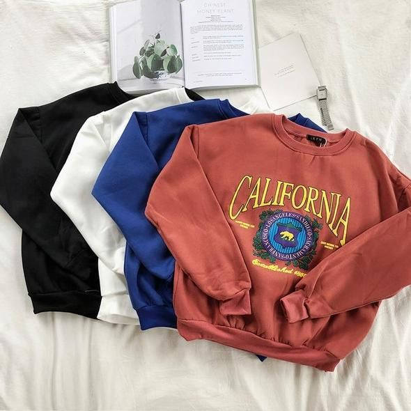 Mooirue Women Loose Sweatshirt Restore School Thickening Warm Printing Round Neck Solidwwetoro