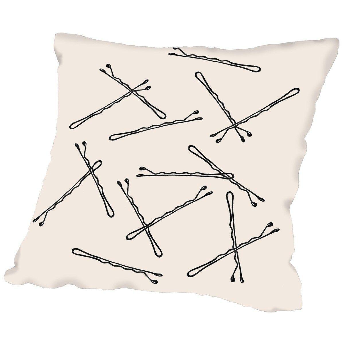 Peach & Gold Bobby Pins Throw Pillow