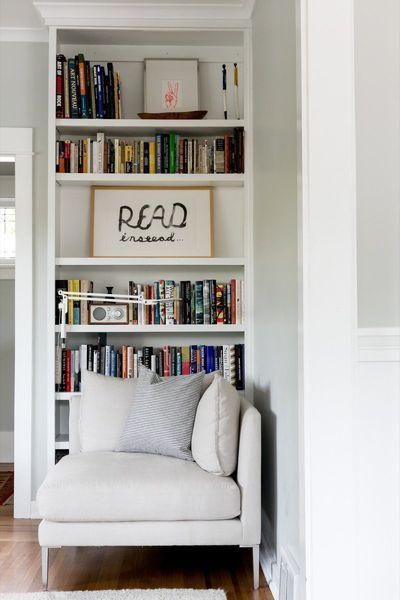 Single Women And Their Spaces: Widow, Mother and Founder of The Bungalow, Christine Sanders - The Fold  #interiors #interiordesign #singlewomenandtheirspaces #library #shelfstyling