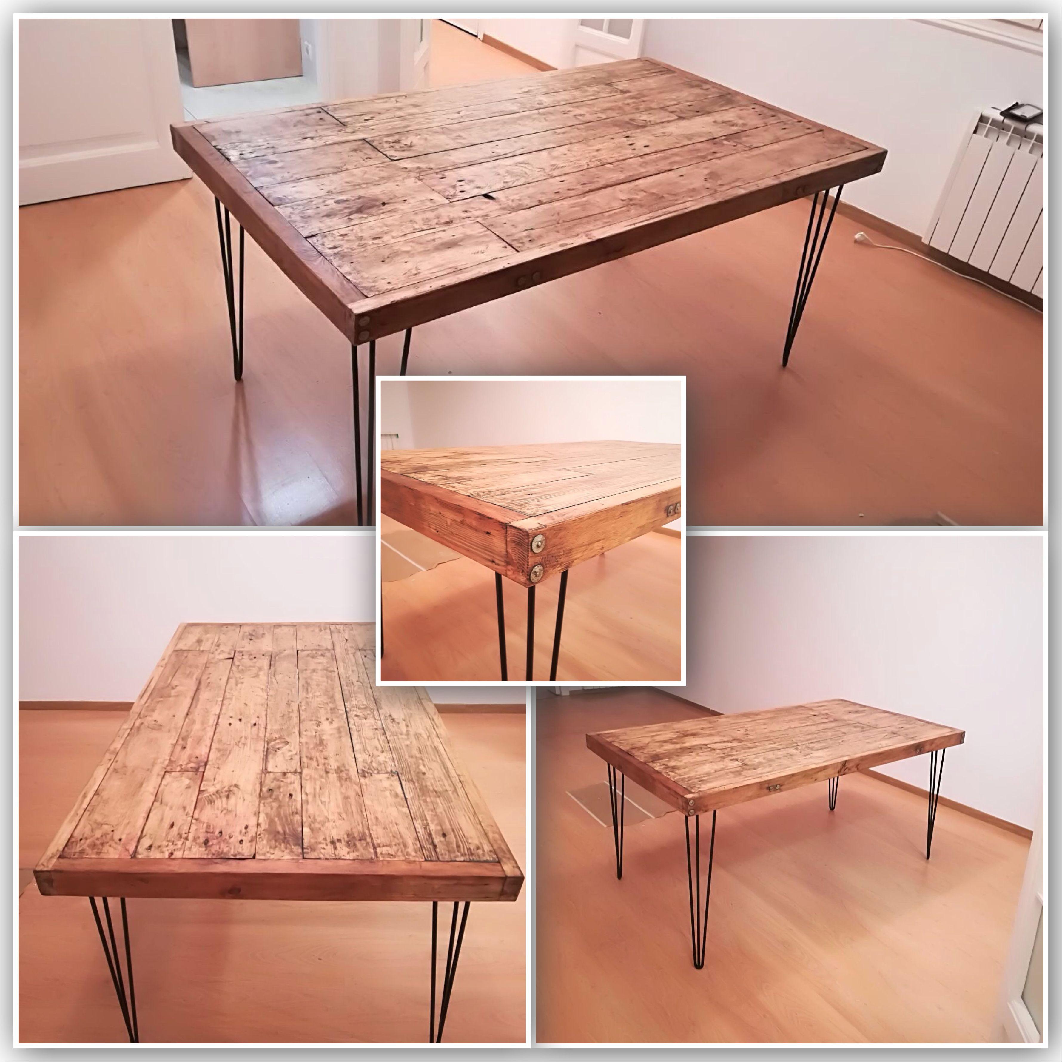Mesa comedor estilo rústico industrial en madera reciclada de pallet ...