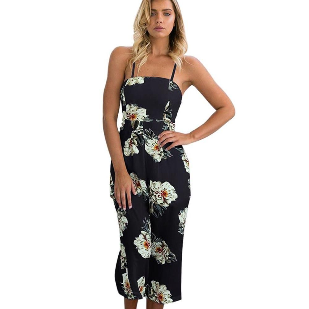 cb0c3a3f6c5 Summer Style floral print jumpsuit Romper Off Shoulder Sleeveless Bodycon  White Black Rompers Womens Jumpsuits