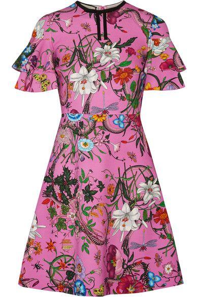 fe79fac6e GUCCI Ruffled Printed Stretch-Jersey Mini Dress. #gucci #cloth #dresses
