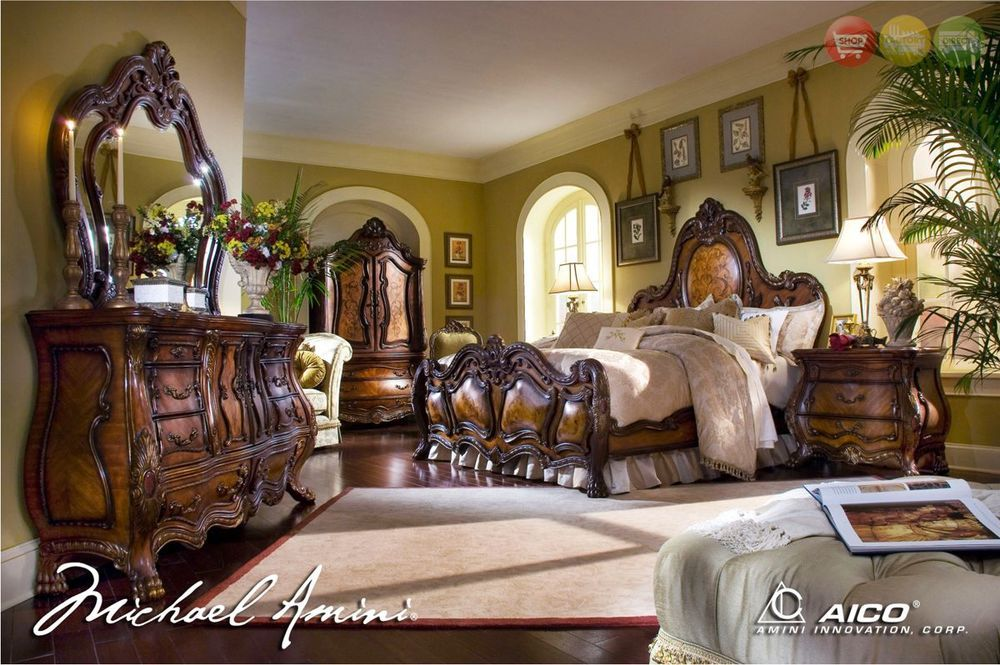 Chateau Beauvais Luxury Queen Bed Carved Wood 5 Piece Bedroom Set W