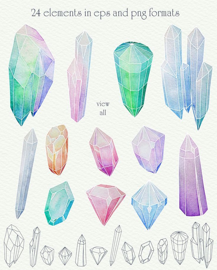 Crystal Watercolor: Wonderful hand-drawn crystals in hight quality for your design. It's perfect for greeting cards, digital or paper scrapbooking, printing on brands, branding, and more.