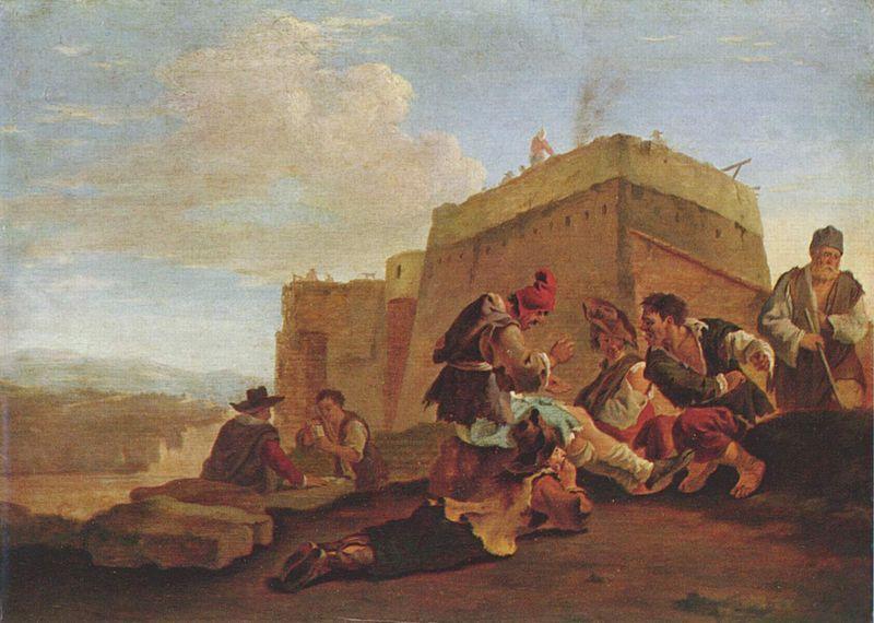 Pieter Van Laer, Paysage aux joueurs de mourre 1630 Bamboccianti - rückwände für küchen aus glas