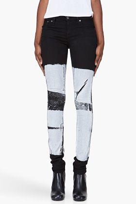 HELMUT Skinny Grey Print Jeans // possible diy, hm.
