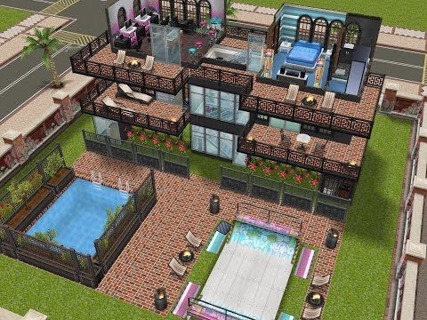 Sims freeplay house design pool skater mansion for Pool design sims 3