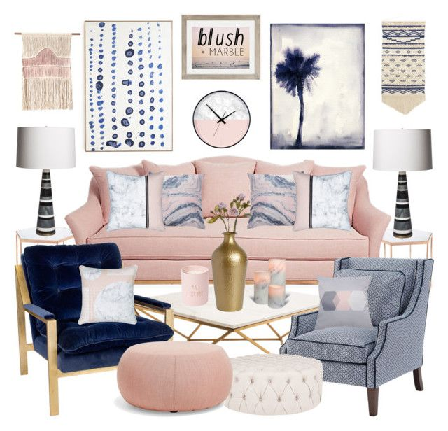 Blue, Pink Living Room, Glam