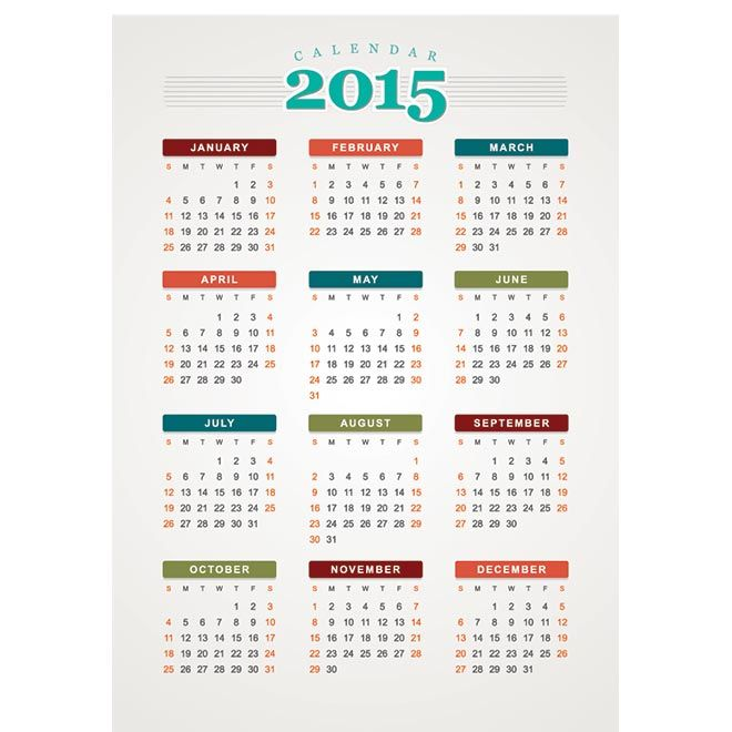 70+ Creative Vector 2015 Calendar Template - Free Vector Art