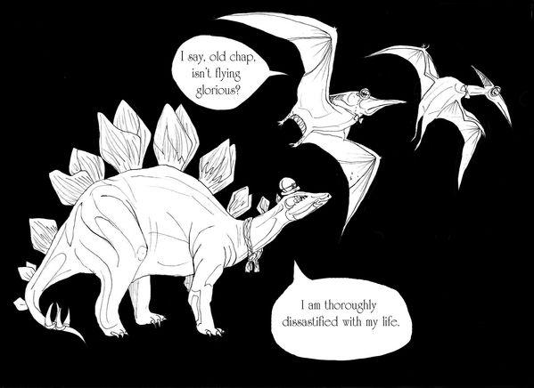 Dinosaurs Wearing Hats by Amanda Emdin (via Behance) #dinosaurs #comics #stegosaurus #pterodactyl