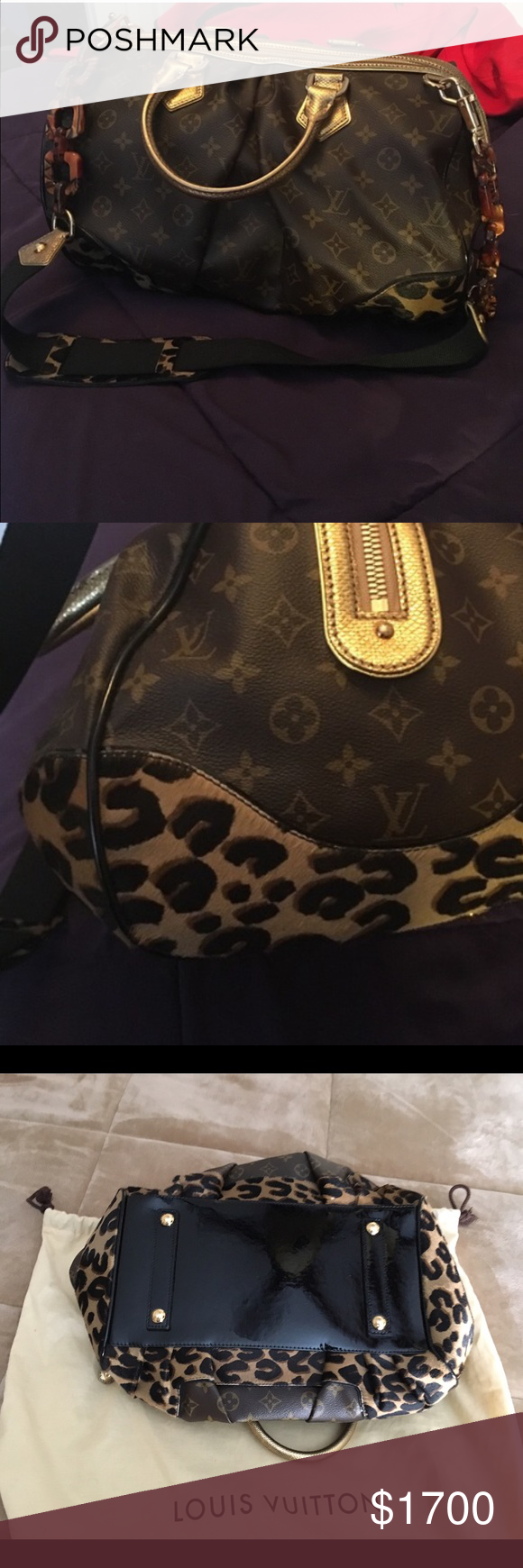 """100% Authentic LV Monogram Leopard Stephen Bag Unique bag with optional cross body strap. Original LV monogram print with patten leather bottom and gold Karung water snake trim. Leopard print calf hair. In excellent shape. Comes with dust bag. 15"""" Height 9"""" Depth(wideness)  5.25"""" drop(handles) just looking for a new home (: Louis Vuitton Bags Crossbody Bags"""