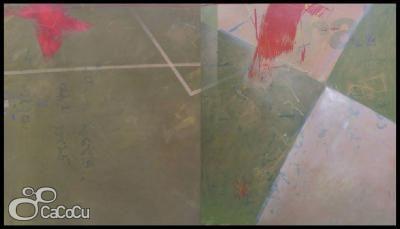 """""""Sin título"""" J. Doña. Técnica mixta sobre tabla. Dimensiones: 195 x 3,4 cm"""