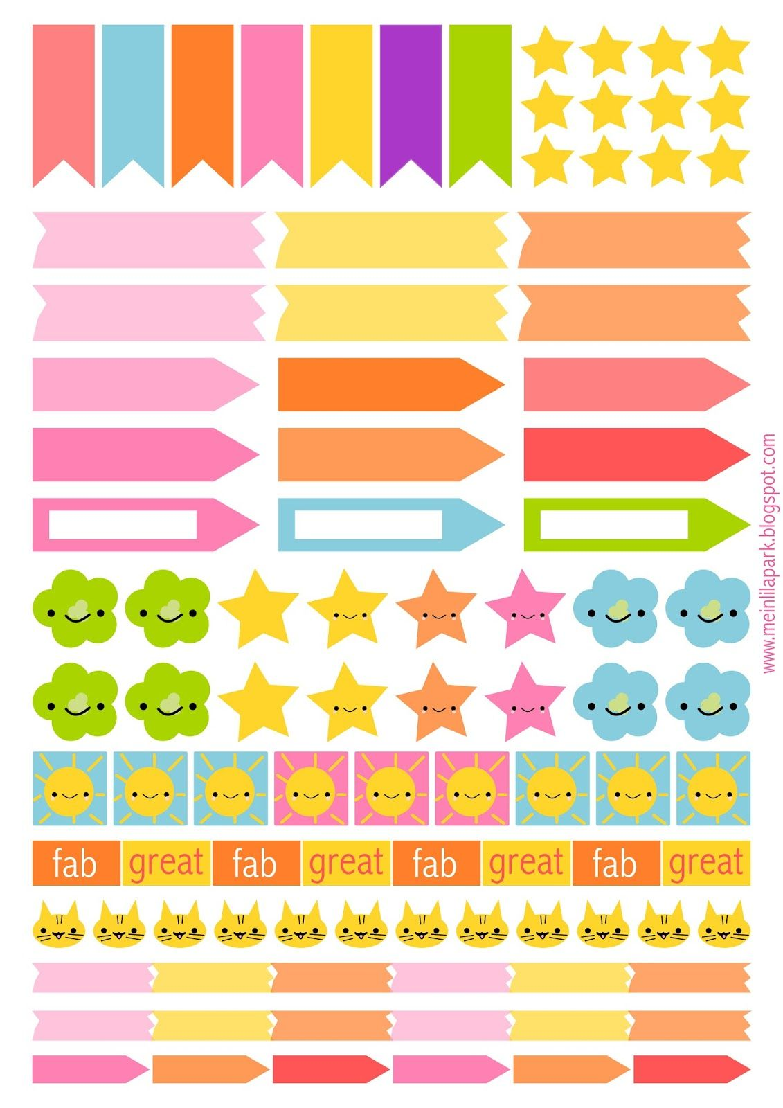 Free printable planner flags and stickers ausdruckbare for Planner casa gratis