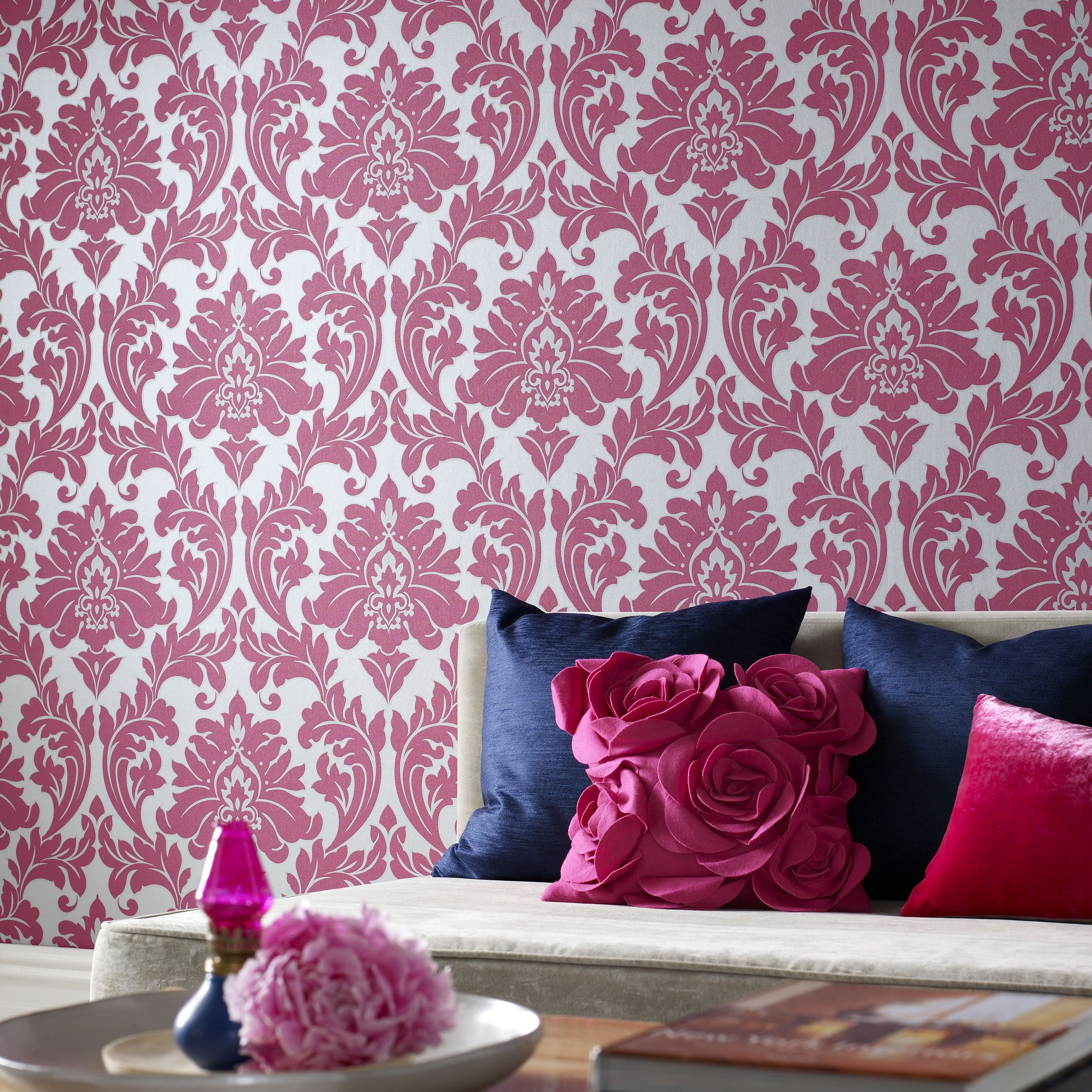 fun, fancy and floral! #pink #damask #class | wallpapers