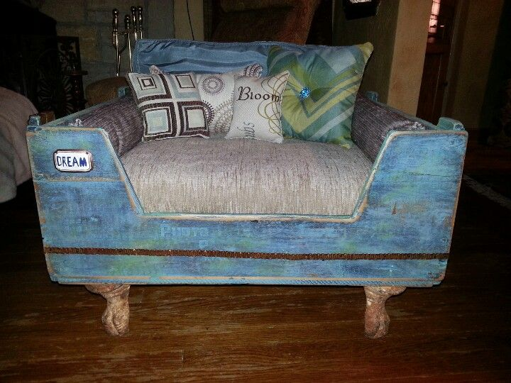 Upcycled dog bed I made from and old wood crate and bathtub feet and ...