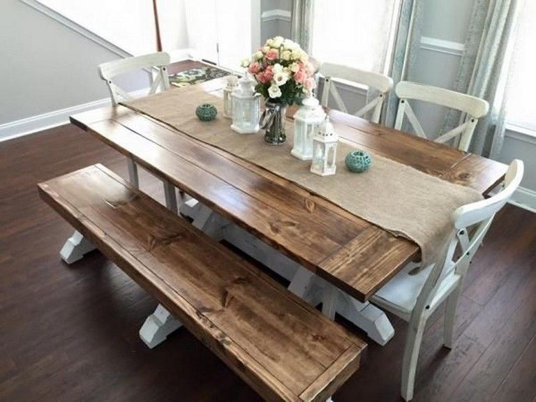 41+ Awesome Stylish Farmhouse Table Design Ideas Which Is
