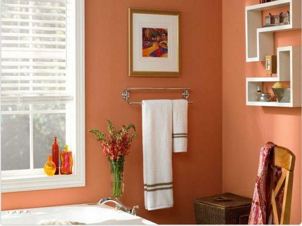 gem tliches badezimmer sch ne orange wandgestaltung dekoideen f rs bad pinterest. Black Bedroom Furniture Sets. Home Design Ideas