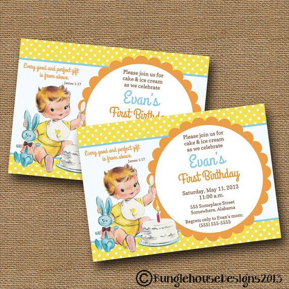 baby s first birthday invitation diy printable vintage baby boy 2