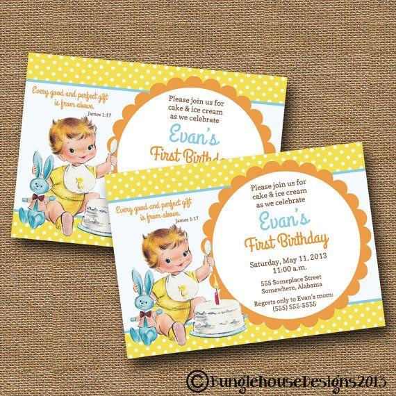 Baby S First Birthday Invitation Diy Printable Vintage Baby Boy