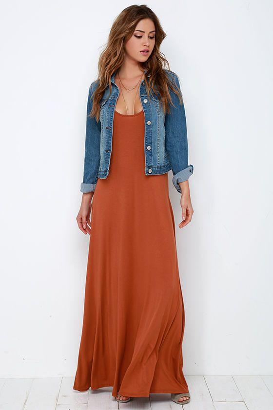 7c5131de6722 Sunset the Pace Rust Orange Maxi Dress at Lulus.com!