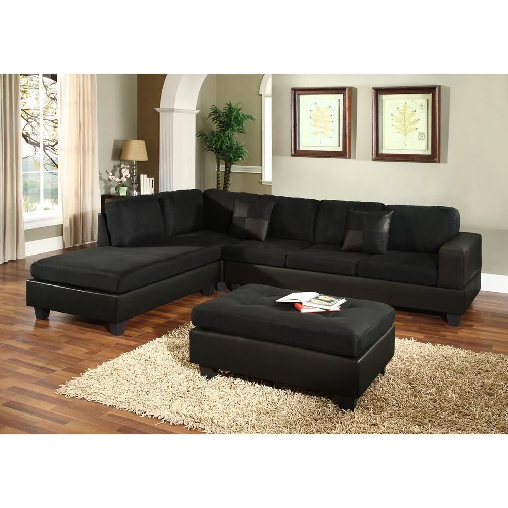Venetian Worldwide Dallin Sectional Sofa With Left Ottoman In Black Microfiber Mfs0005 L The Home Depot