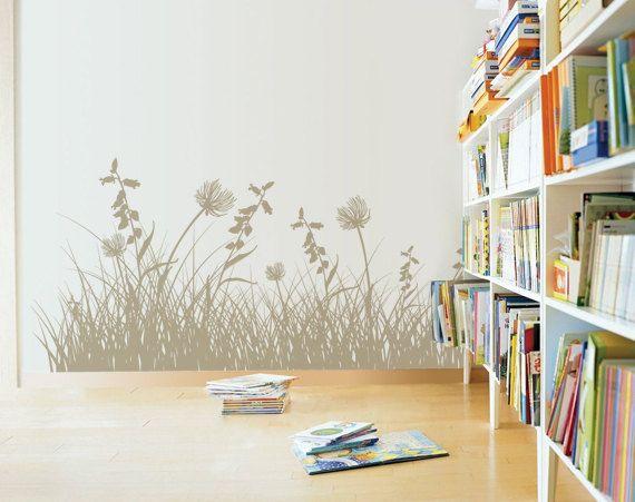 Wohnzimmer Blumen ~ Große gras blätter und blumen aufkleber für home office wohnheim