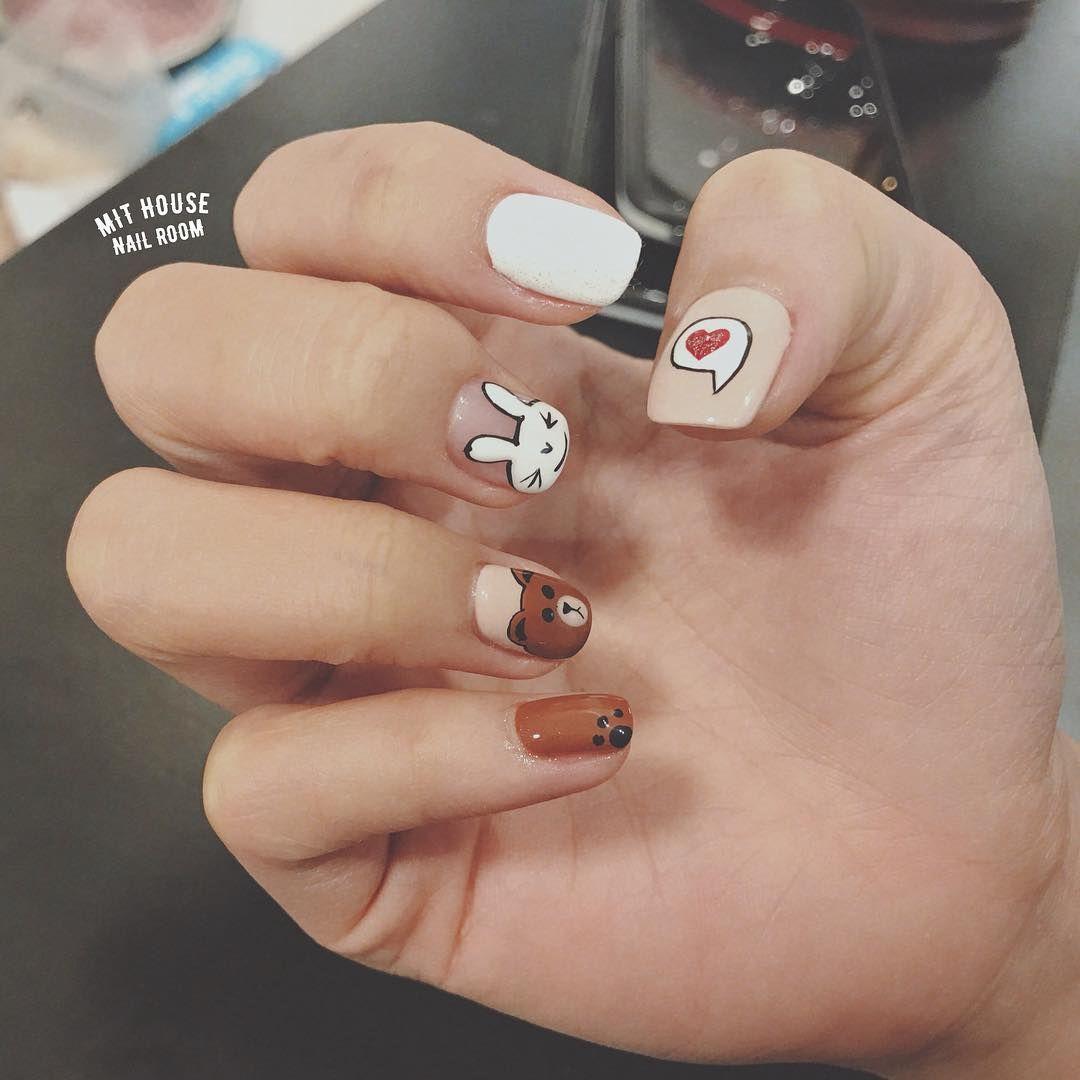 Mẫu nails gấu line siu xinh dành cho các tín đồ mê các icon gấu thỏ của  line nha Sài Gòn Đà Nẵng: Phá gel - tháo bột: 1040.000 S… | Móng