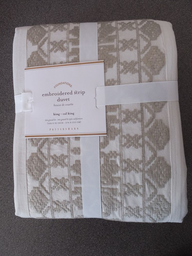 NEW RARE 3PC Pottery Barn Embroidered Strip King/Queen Duvet w/Shams-ChooseSize #PotteryBarn