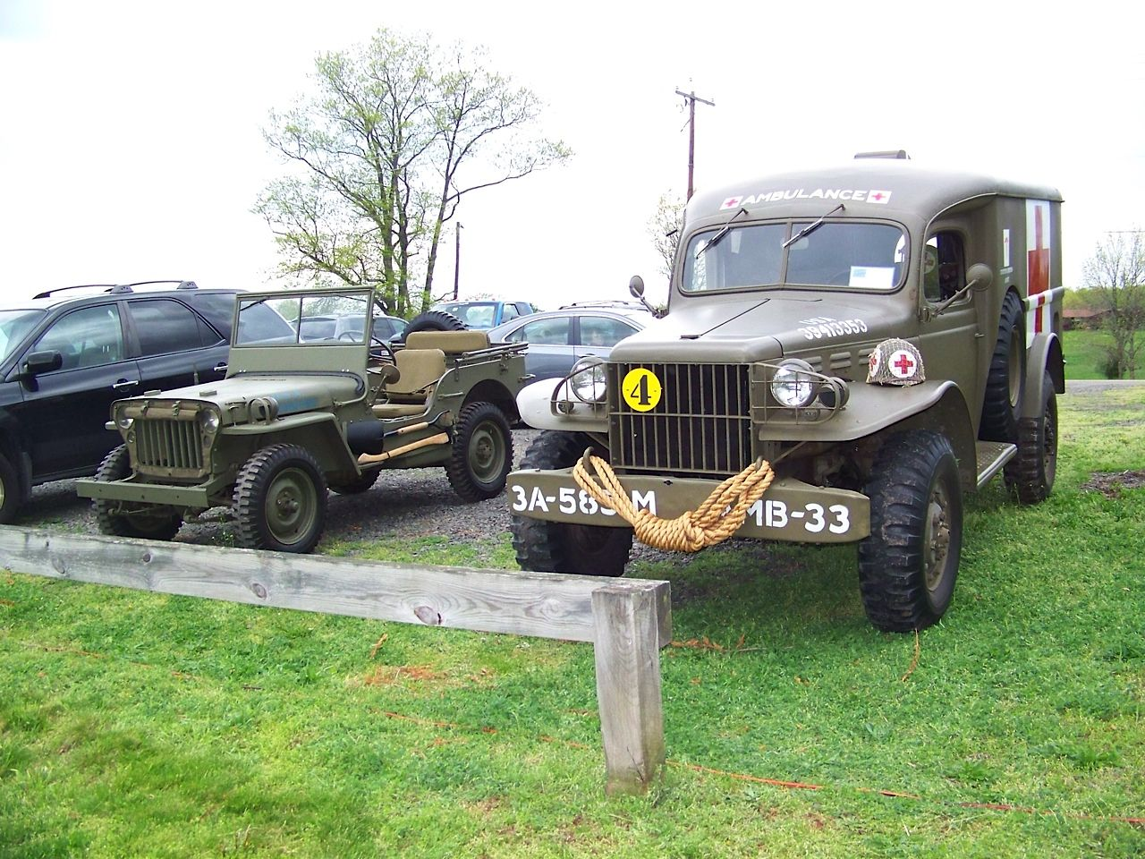 Dodge trucks in wwii - At The Ribbon Cutting Ceremony For The Montgomery Veteran S Memorial Nj Willys 1942 Jeep Wc54 1944 Dodge Usarmy Ambulance Wwii Ww2 Worldwartwo