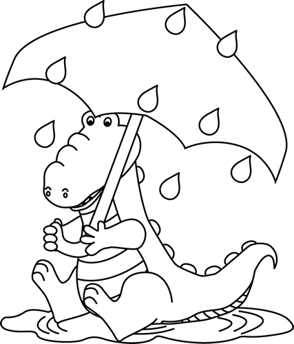 Black and White Alligator Sitting in the Rain Coloring