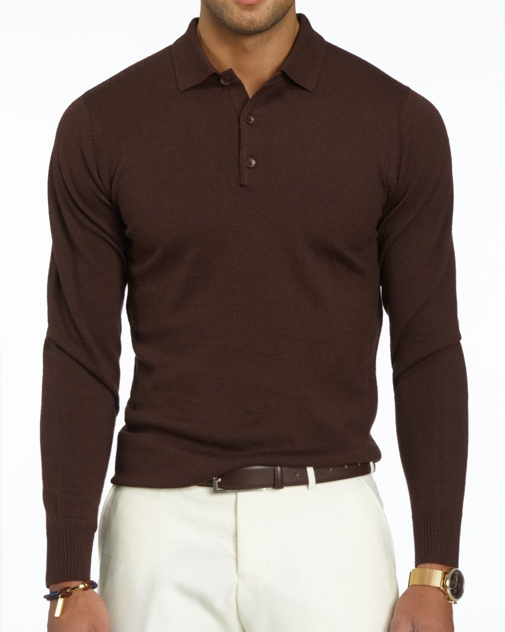 ce0d55fa5afb Brown Long Sleeve Polo base | His Style | Polo outfit, Polo shirt ...