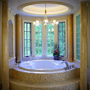 bay tile kitchen bath circular garden tub with bay windows mosaic tiles 7611