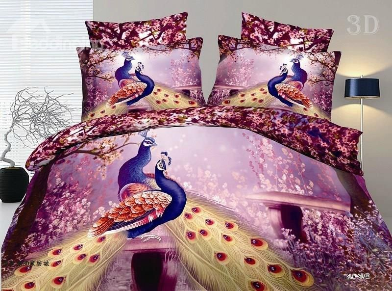 100 cotton gorgeous peacock 3d printed 4 piece polyester bedding sets