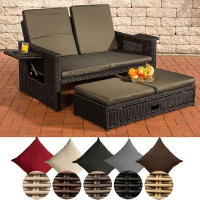 Lounge sofa rund  Poly-Rattan 2er Lounge-Sofa ANCONA, Geflecht RUND, ALU-Gestell ...