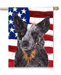 Australian Cattle Dog Usa Patriotic Flag Large Canvas House Flag
