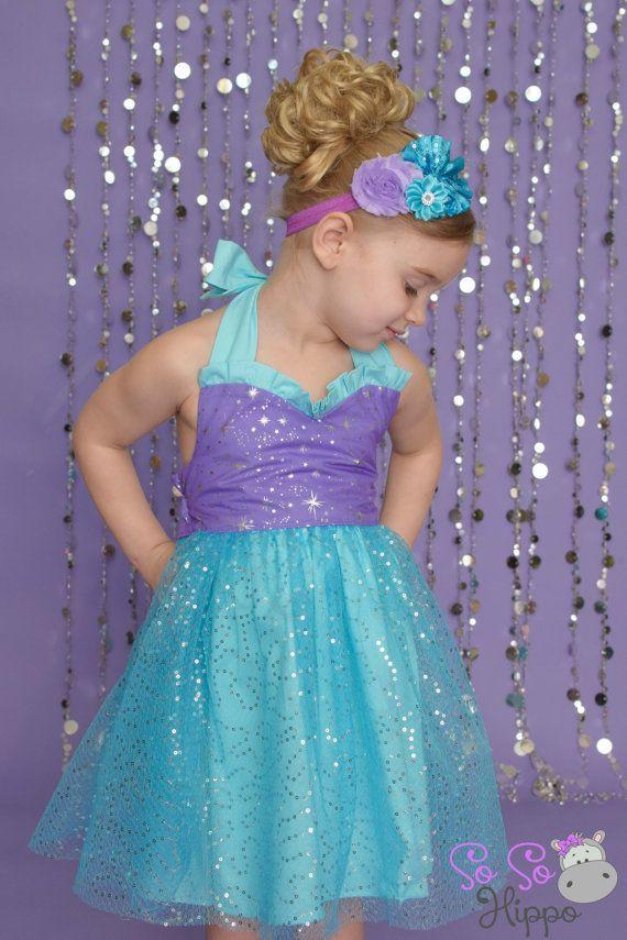 Ariel sequin sparkle dress by SoSoHippo on Etsy idéias festas Vivi