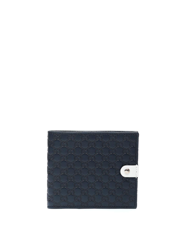 Microguccissima Leather Bi-Fold Wallet, Navy