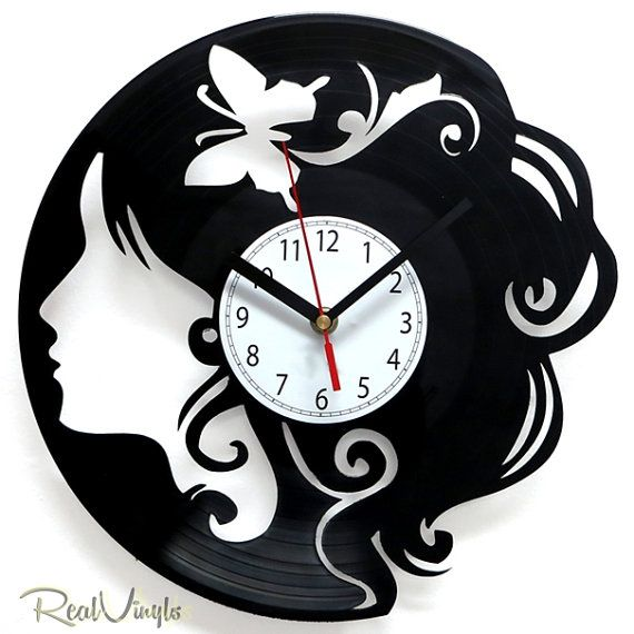 vinyl wall clock chick recycled vinyl record clock by realvinyls 3000 blank wall clock frei