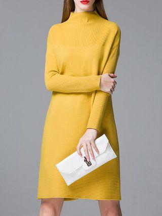 e62c96a21360 Yellow Long Sleeve Dress, Yellow Dress, Long Sleeve Sweater Dress, Sweater  Dresses,
