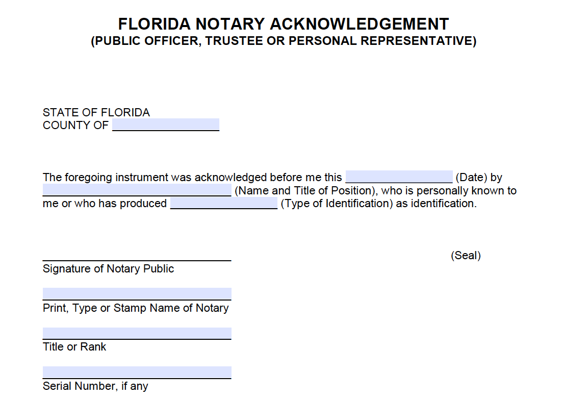 Letter Template With Notary Free Florida Short Form Notary Acknowledgement Public Power Of Attorney Form Synonyms And Antonyms Notary
