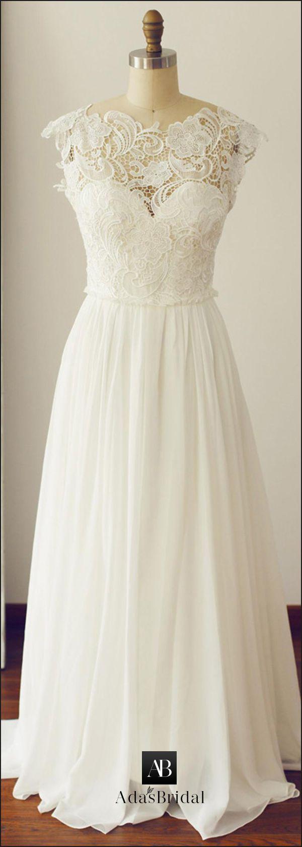 Chic lace u chiffon asymmetrical neckline cap sleeves aline wedding