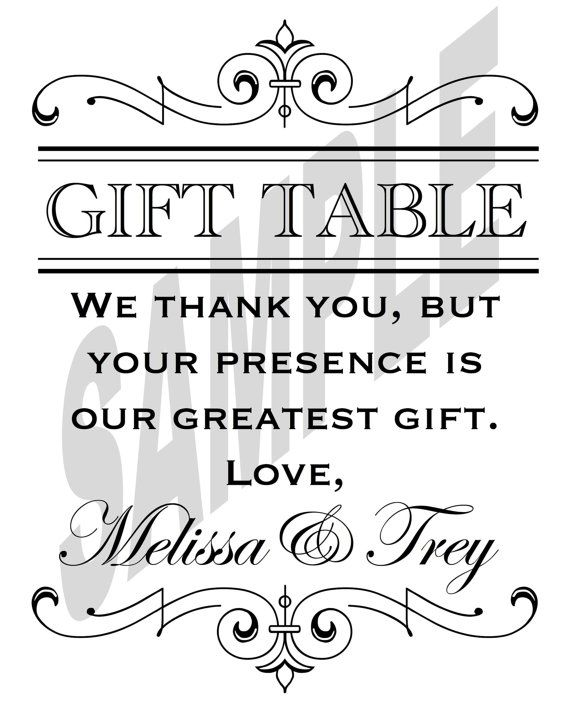 Printable Wedding Reception Gift Table Sign Someday Wishes