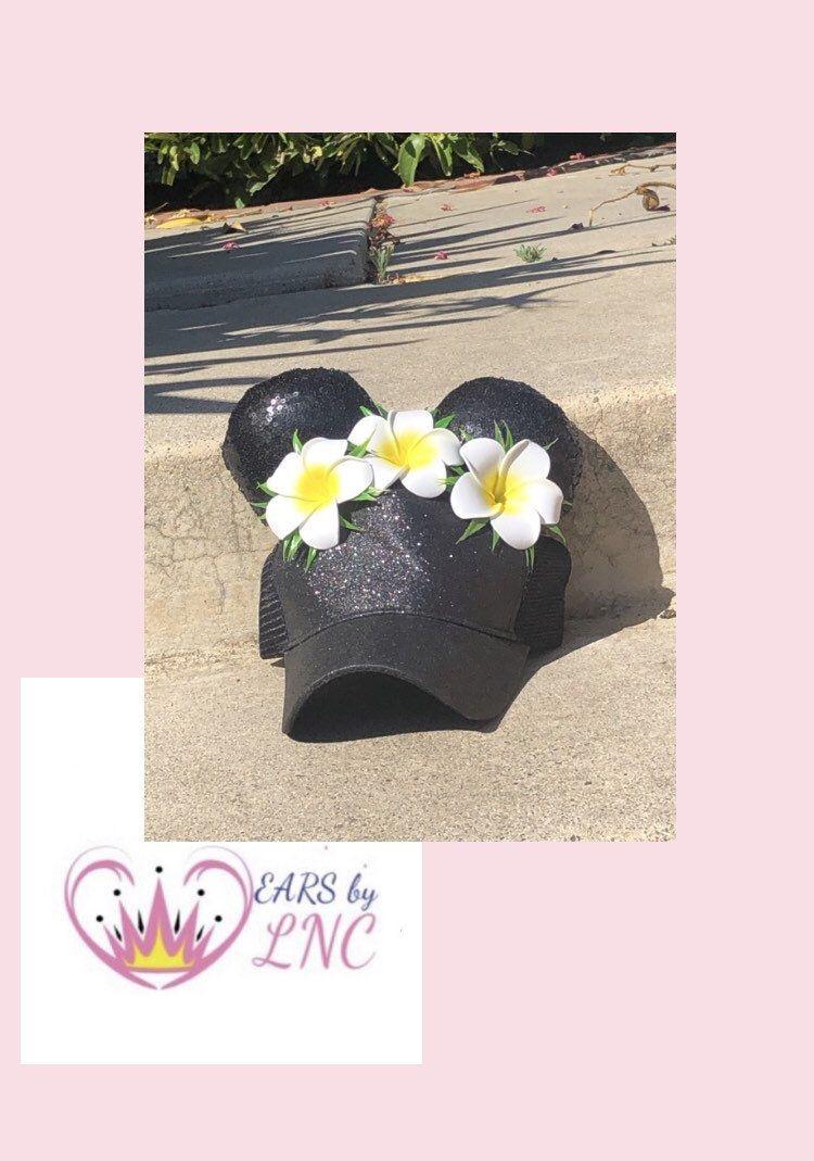 Hawaiian Mini High Ponytail hats, Messy bun, Flower Crown Mouse ears, Hawaiian foam flowers, Moana inspired hats, Trucker baseball hats