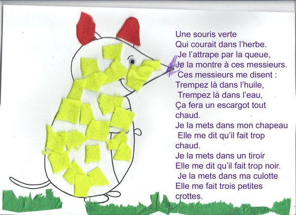 Une souris verte comptine et petites poesies pinterest souris vert et comptines - Coloriage souris verte ...