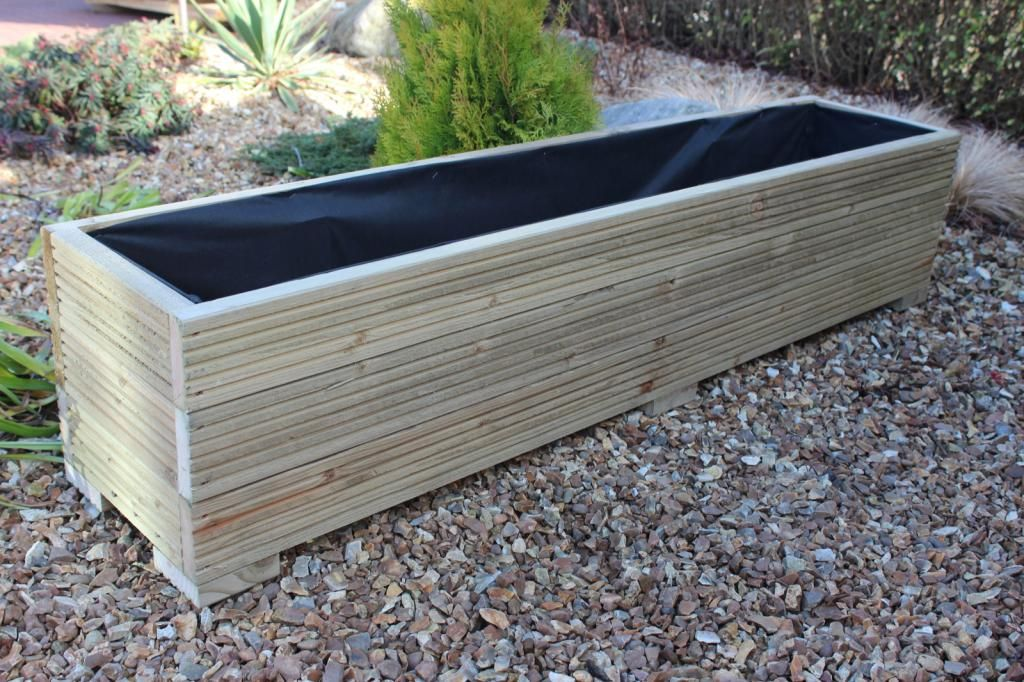 Large Deck Boards ~ Large wooden garden planter trough in decking boards plant