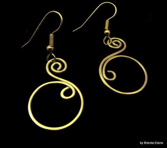 Double Swirl Earrings in Brass by byBrendaElaine on Etsy, $11.00
