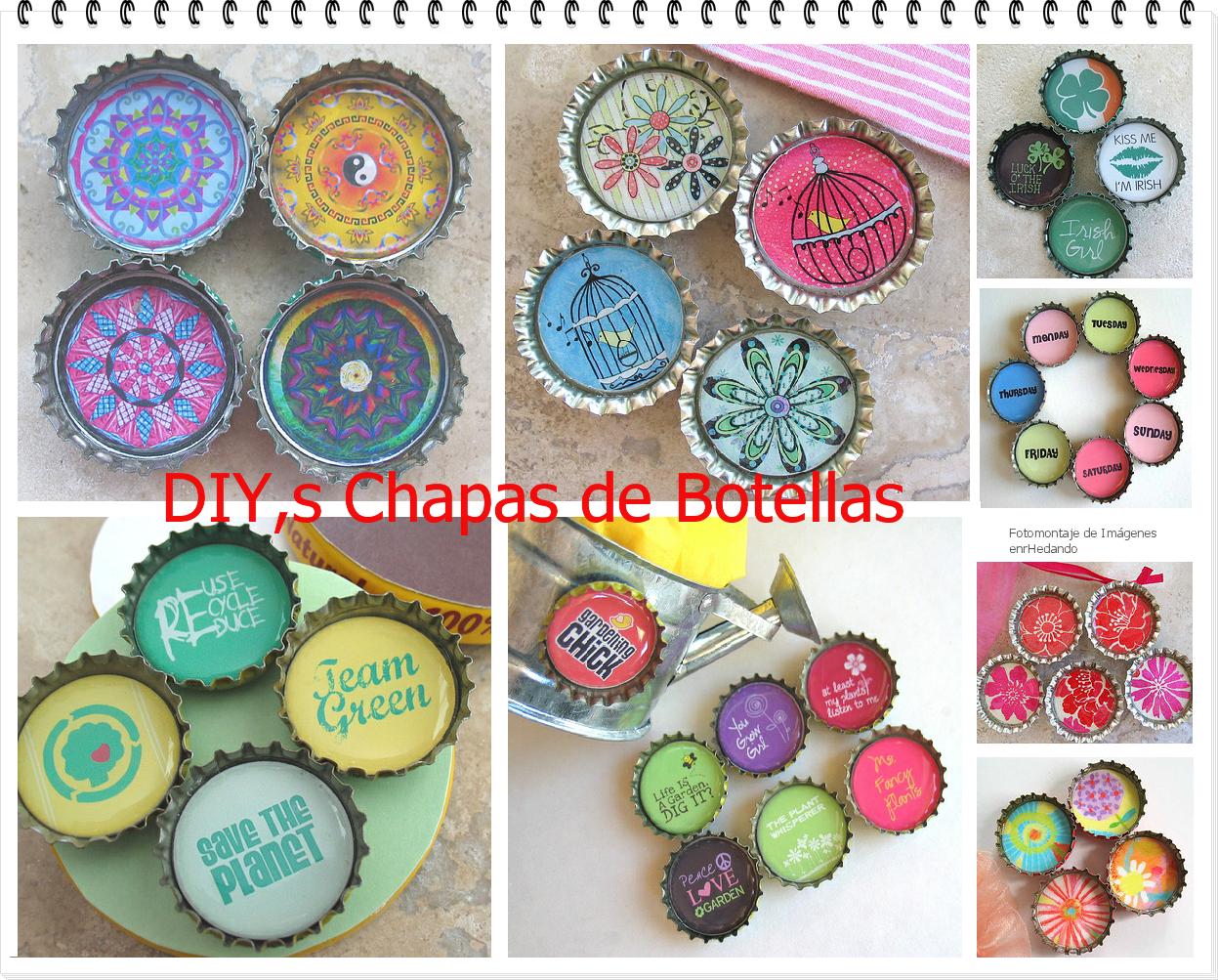 Enrhedando tutoriales diy s con chapas de botellas plantillas tapas de botellas botellas - Manualidades con chapas de refrescos ...
