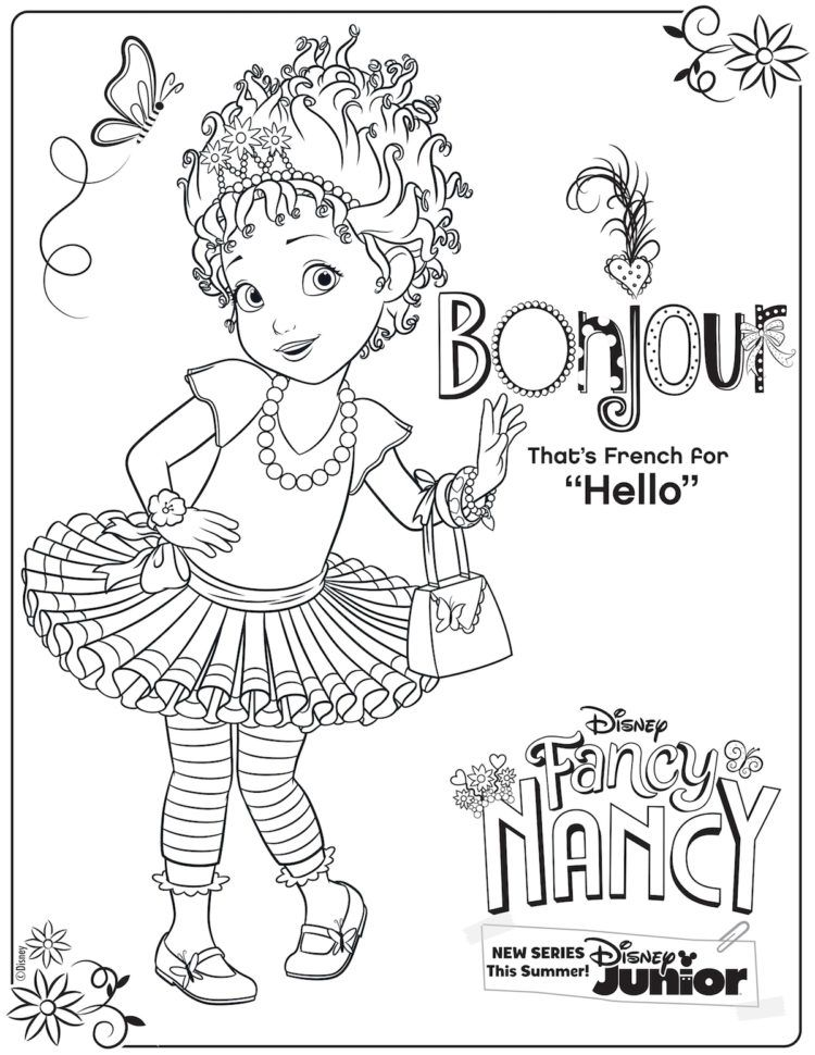 Say Bonjour To This Fancy Nancy Coloring Page Fancy Nancy Party Mermaid Coloring Pages Disney Coloring Pages