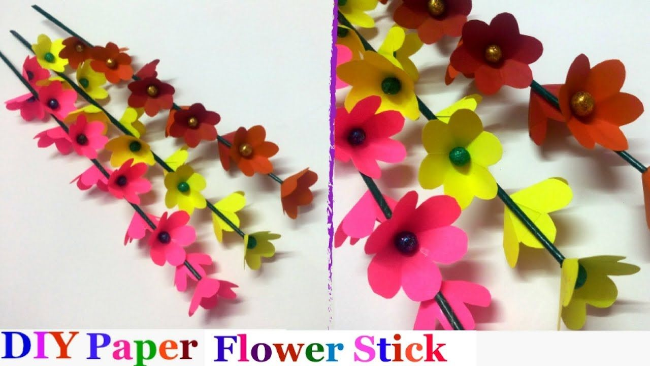 How To Make Paper Flowers With Stick For Room Decorationdiy Room