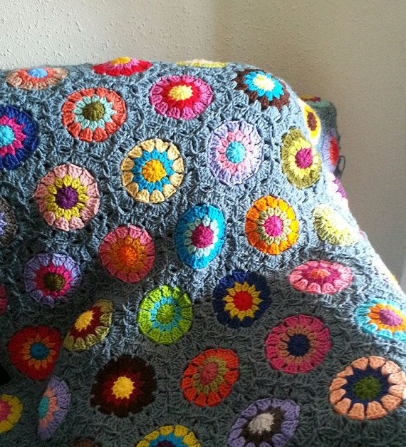 Colorful Hexagon Afghan Blanket Traditional By Maybelemon On Etsy